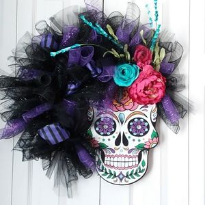 Sugar skull day of the dead wreath wall hanging